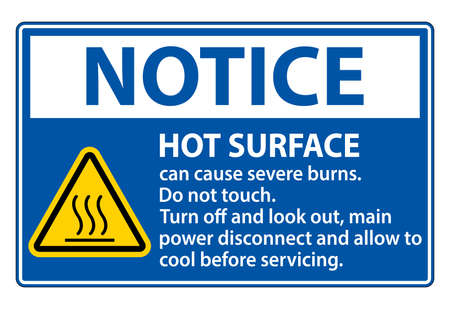 Notice Hot surface sign on white background 矢量图像