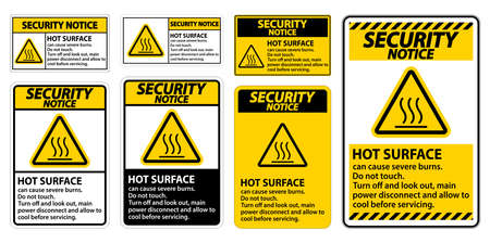 Security Notice Hot surface sign on white background 矢量图像