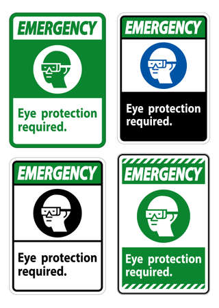 Emergency Sign Eye Protection Required Symbol Isolate on White Background