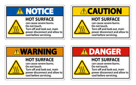 Hot surface sign on white background
