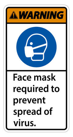 Warning Face mask required to prevent spread of virus sign on white background