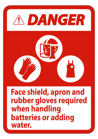 Danger Sign Face Shield, Apron And Rubber Gloves Required When Handling Batteries or Adding Water With PPE Symbols Illustration