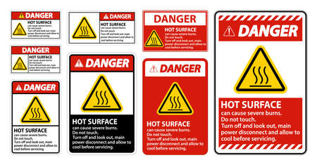 Danger Hot surface sign on white background