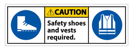 Caution Sign Safety Shoes And Vest Required With PPE Symbols on White Background,Vector Illustration