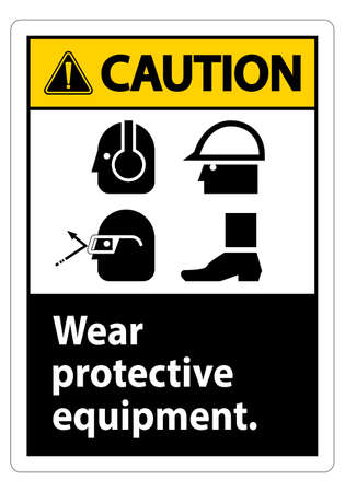 Caution Sign Wear Protective Equipment,With PPE Symbols on White Background,Vector Illustration