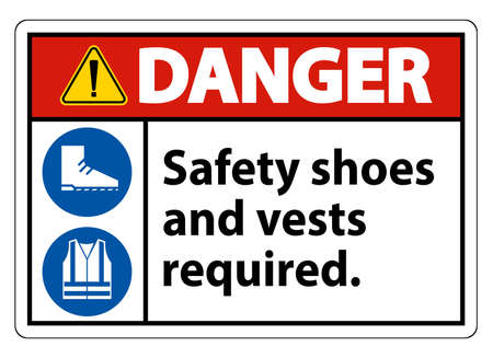 Danger Sign Safety Shoes And Vest Required With PPE Symbols on White Background,Vector Illustration Illustration