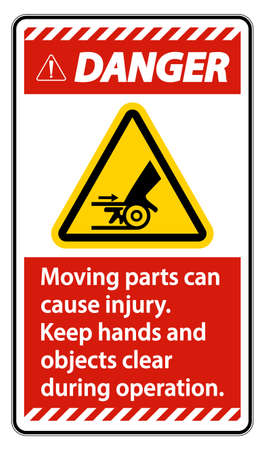 Danger Moving parts can cause injury sign on white background Ilustração
