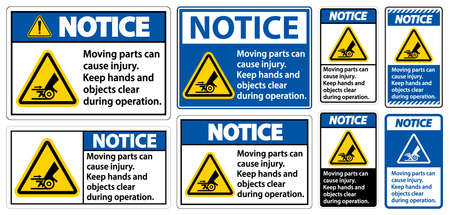 Notice Moving parts can cause injury sign on white background Ilustração