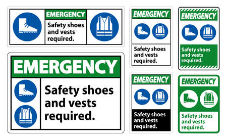 Emergency Sign Safety Shoes And Vest Required With PPE Symbols on White Background,Vector Illustration Ilustração