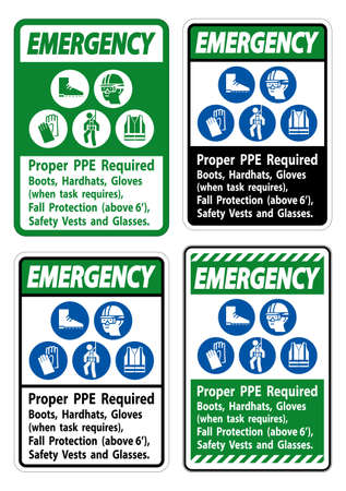 Emergency Sign Proper PPE Required Boots, Hardhats, Gloves When Task Requires Fall Protection With PPE Symbols Ilustração