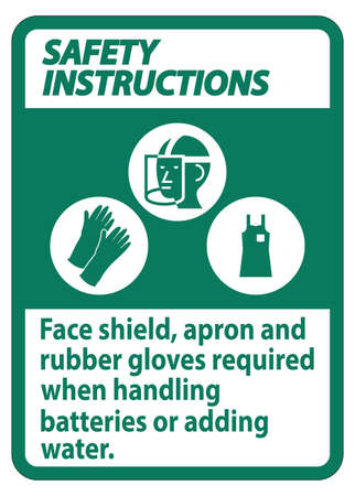 Safety Instructions Sign Face Shield, Apron And Rubber Gloves Required When Handling Batteries or Adding Water With PPE Symbols