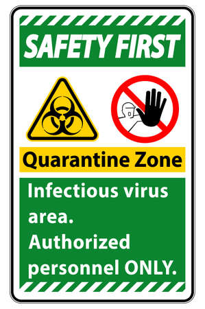 Safety First Quarantine Infectious Virus Area sign on white background