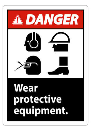 Danger Sign Wear Protective Equipment,With PPE Symbols on White Background,Vector Illustration