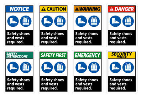 Safety Shoes And Vest Required With PPE Symbols on White Background,Vector Illustration Ilustração