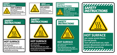Safety Instructions Hot surface sign on white background