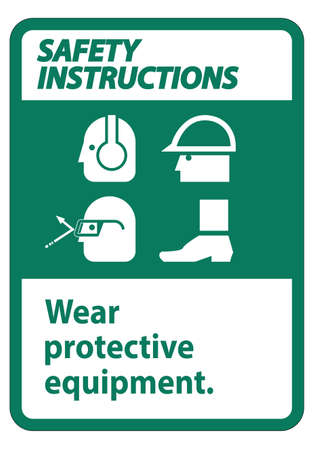 Safety Instructions Sign Wear Protective Equipment,With PPE Symbols on White Background,Vector Illustration Ilustração