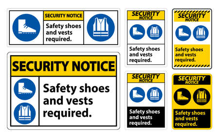 Security Notice Sign Safety Shoes And Vest Required With PPE Symbols on White Background,Vector Illustration Ilustração