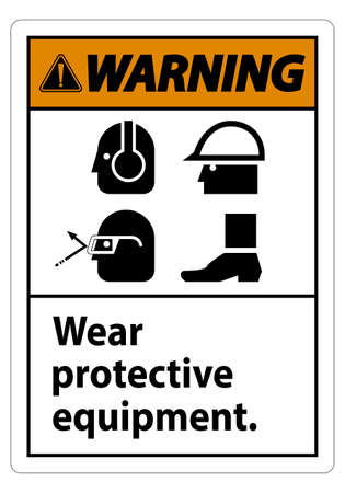 Warning Sign Wear Protective Equipment,With PPE Symbols on White Background,Vector Illustration