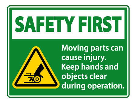 Safety First Moving parts can cause injury sign on white background