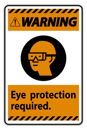 Warning Sign Eye Protection Required Symbol Isolate on White Background 向量圖像