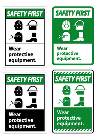 Safety First Sign Wear Protective Equipment,With PPE Symbols on White Background,Vector Illustration