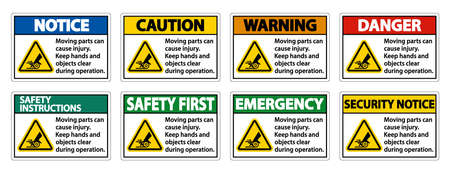 Moving parts can cause injury sign on white background
