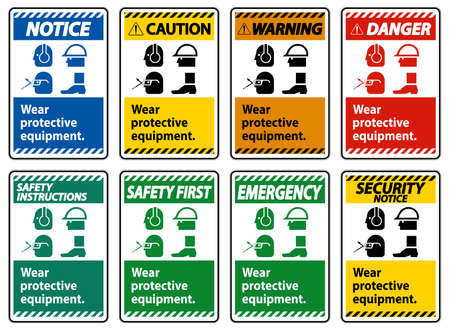 Wear Protective Equipment,With PPE Symbols on White Background,Vector Illustration