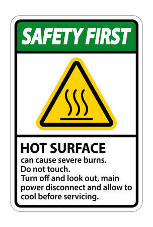 Safety First Hot surface sign on white background