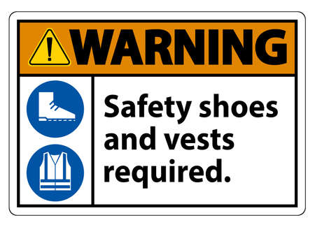 Warning Sign Safety Shoes And Vest Required With PPE Symbols on White Background,Vector Illustration Illustration