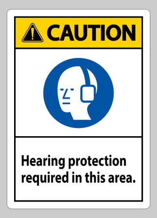 Caution PPE Sign Hearing Protection Required In This Area with Symbol
