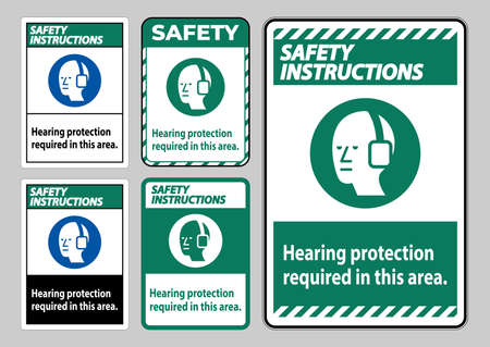 Safety Instructions PPE Sign Hearing Protection Required In This Area with Symbol