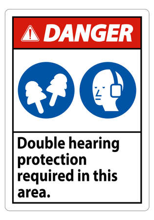 Danger Sign Double Hearing Protection Required In This Area With Ear Muffs & Ear Plugs