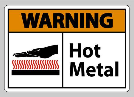 Warning Hot Metal Symbol Sign Isolated On White Background