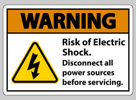 Warning Risk of electric shock Symbol Sign Isolate on White Background