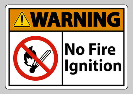 Warning No Fire Ignition Symbol Sign On White Background  イラスト・ベクター素材