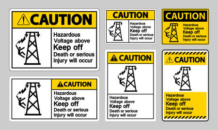Caution Hazardous Voltage Above Keep Out Death Or Serious Injury Will Occur Symbol Sign