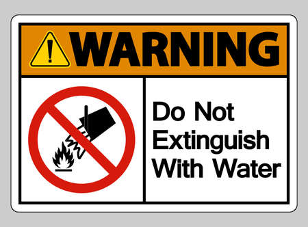 Warning Do Not Extinguish With Water Symbol Sign On White Background