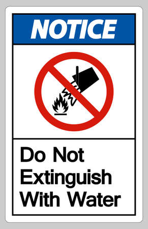 Notice Do Not Extinguish With Water Symbol Sign On White Background