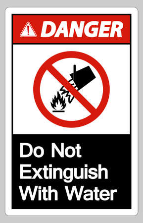 Danger Do Not Extinguish With Water Symbol Sign On White Background