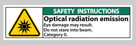 Safety Instructions Sign Optical radiation emission Symbol Sign Isolate on White Background