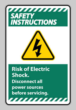 Safety instructions Risk of electric shock Symbol Sign Isolate on White Background