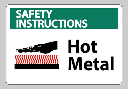 Safety Instructions Hot Metal Symbol Sign Isolated On White Background