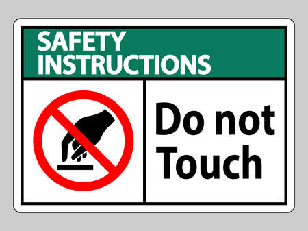 Safety Instructions Do Not Touch Symbol Sign Isolate On White Background  イラスト・ベクター素材