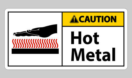 Caution Hot Metal Symbol Sign Isolated On White Background