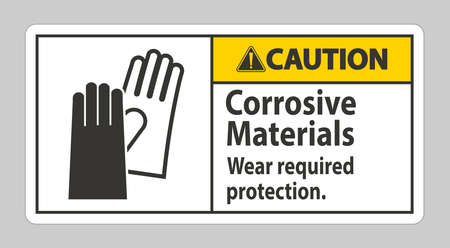 Caution Sign Corrosive Materials, Wear Required Protection