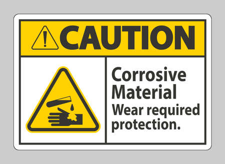 Caution Sign Corrosive Materials,Wear Required Protection
