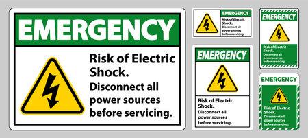 Emergency Risk of electric shock Symbol Sign Isolate on White Background Ilustracja