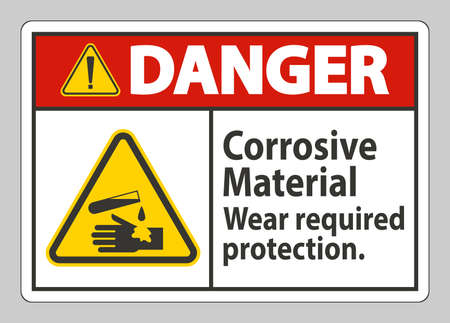 Danger Sign Corrosive Materials,Wear Required Protection 向量圖像