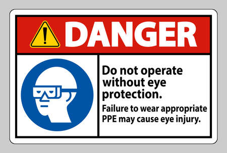 Danger Sign Do Not Operate Without Eye Protection, Failure To Wear Appropriate PPE May Cause Eye Injury