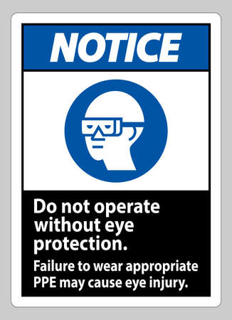 Notice Sign Do Not Operate Without Eye Protection, Failure To Wear Appropriate PPE May Cause Eye Injury